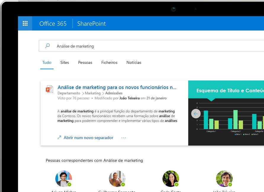 A Pesquisa e Descoberta Inteligentes no SharePoint a mostrar resultados personalizados no Office 365 num Surface Pro