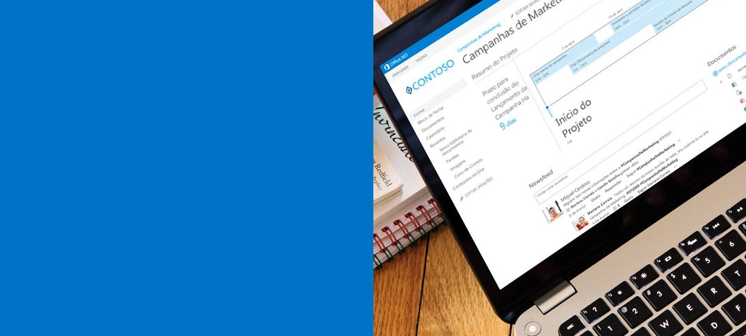 Um portátil a mostrar um documento a ser acedido no SharePoint.