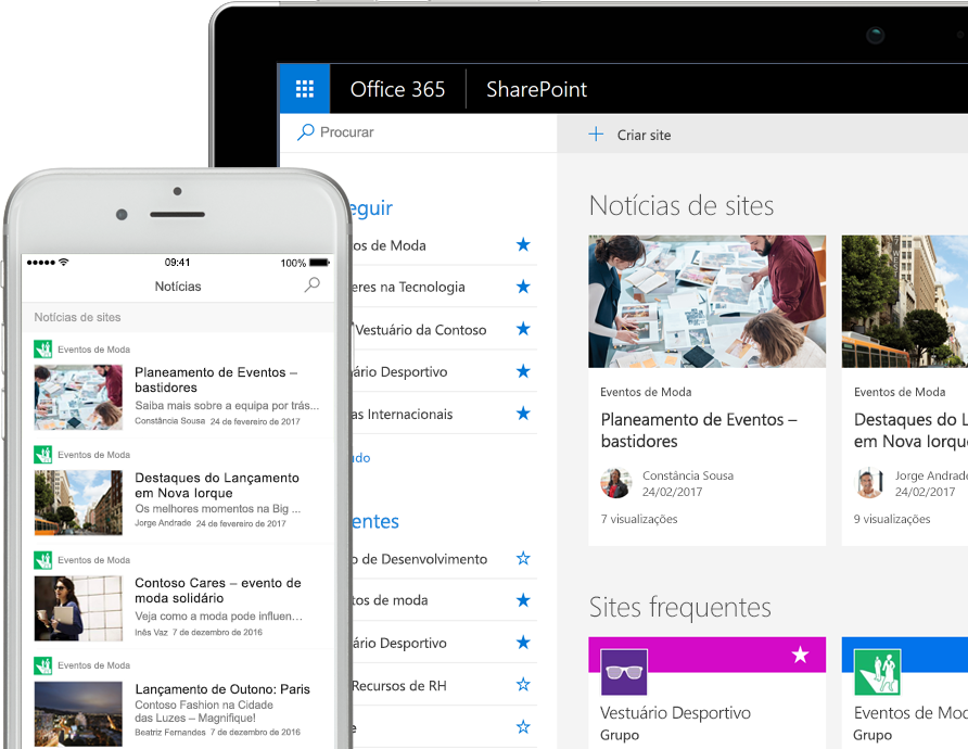 SharePoint com notícias num smartphone e com cartões de notícias e sites num tablet