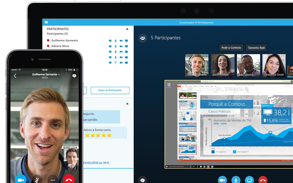 O canto de um ecrã de portátil a mostrar uma reunião do Skype para Empresas em curso com a lista dos participantes