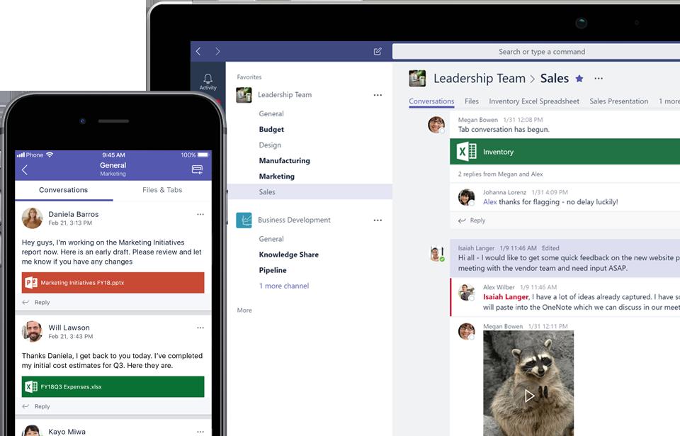 Ecrã de telemóvel e ecrã de dispositivo a mostrar mensagens no Teams