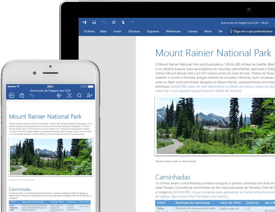 Um telemóvel e o ecrã de um portátil a mostrarem um documento do Word sobre o Parque Nacional do Monte Rainier