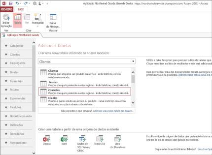 Uma captura de ecrã de uma aplicação de base de dados no Access 2013 que mostra como é fácil adicionar tabelas.