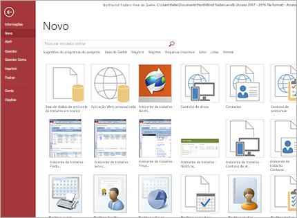 Uma captura de ecrã de um modelo de aplicação de base de dados.