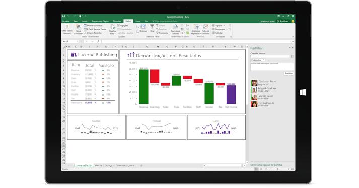 A página de partilha no Excel, com a opção Convidar pessoas selecionada.