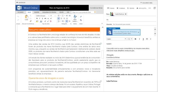 Uma mensagem de e-mail apresentada junto ao painel de pré-visualização de documentos anexados do Word Online