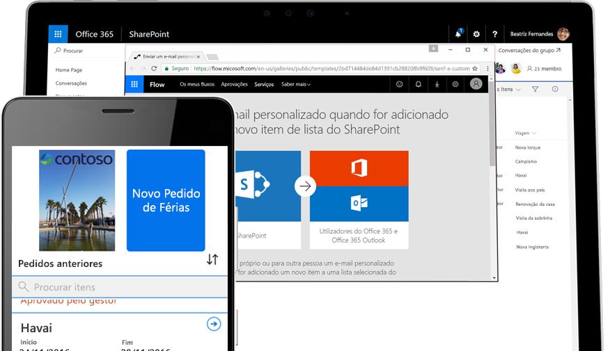 Um pedido de férias num smartphone efetuado no Microsoft Flow e o Microsoft Flow a ser executado num tablet