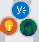 Ícones com o símbolo do Yammer, uma lâmpada e uma pessoa, cada um dentro de um círculo, todos rodeados por um círculo maior.