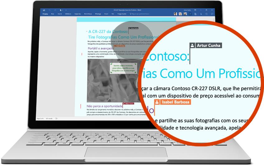 Portátil a mostrar um documento do Word com uma secção ampliada com múltiplos utilizadores a editar, reproduzir vídeo na página sobre a colaboração com o Office 365