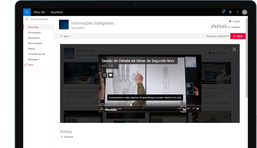 Dispositivo com o SharePoint a ser executado no Office 365 e um vídeo de formação a ser reproduzido