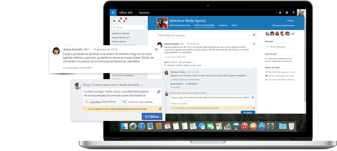 Um ecrã de um portátil a mostrar uma conversação entre funcionários e parceiros externos no Yammer