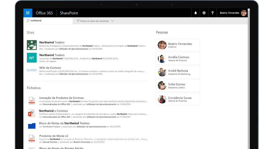 Yammer e SharePoint num tablet