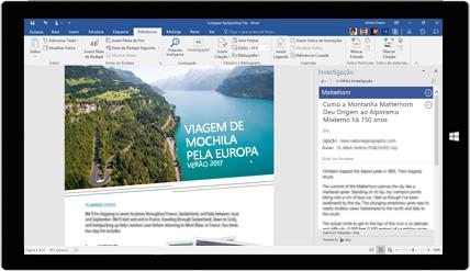 Ecrã de tablet a mostrar a Investigação do Word a ser utilizada num documento sobre viagens pela Europa. Saiba mais sobre a criação de documentos com ferramentas incorporadas do Office