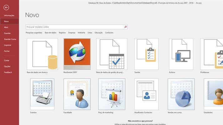 O ecrã Nova base de dados no Microsoft Access