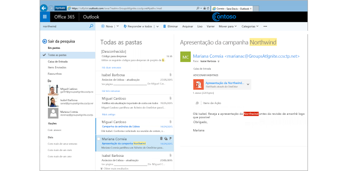 Grande plano da caixa de entrada do utilizador no Outlook Web App.