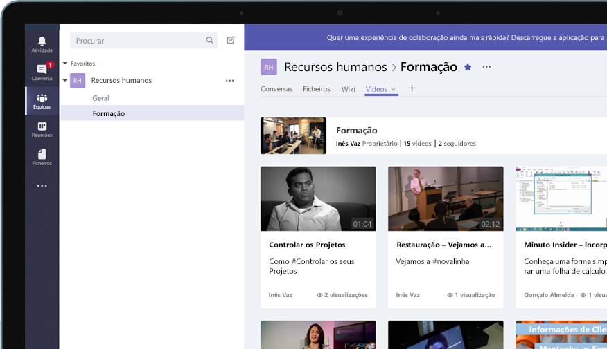 Dispositivo com um grupo do Teams chamado Recursos Humanos, com um menu de vídeos de formação