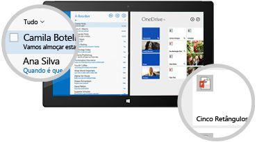 Um tablet a mostrar uma pasta A Receber e os ficheiros armazenados, com o pormenor das mensagens e documentos.