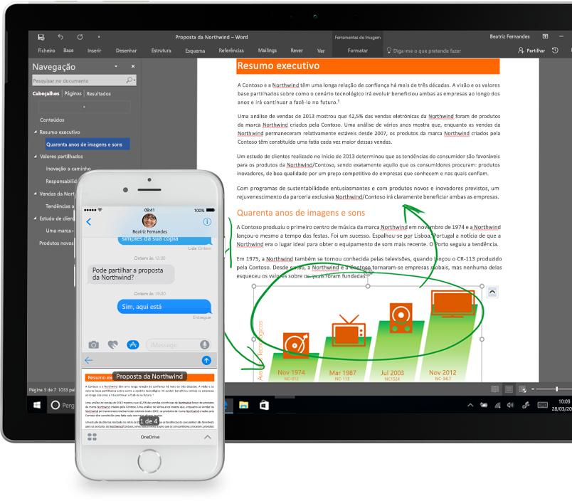 Ficheiros apresentados no OneDrive num smartphone e num tablet PC