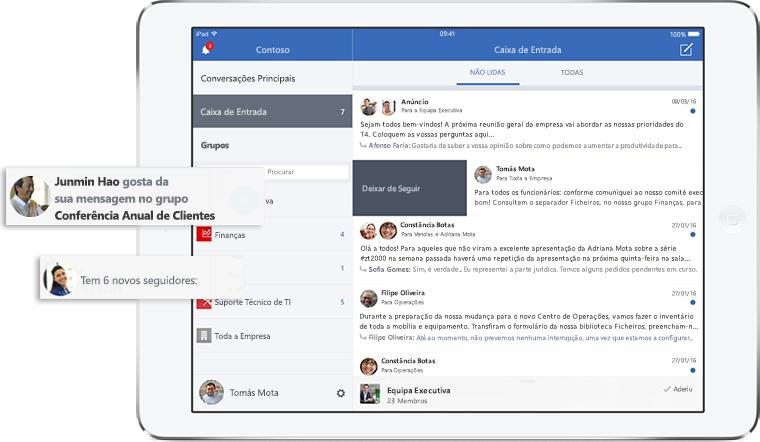 Ecrã de tablet a mostrar a caixa de entrada e as notificações do Yammer
