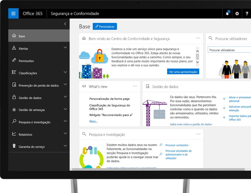 Centro de Conformidade e Segurança do Office 365 num monitor de secretária com Windows