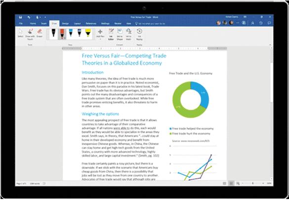 Edição por Tinta Digital utilizada num documento Word num tablet Surface