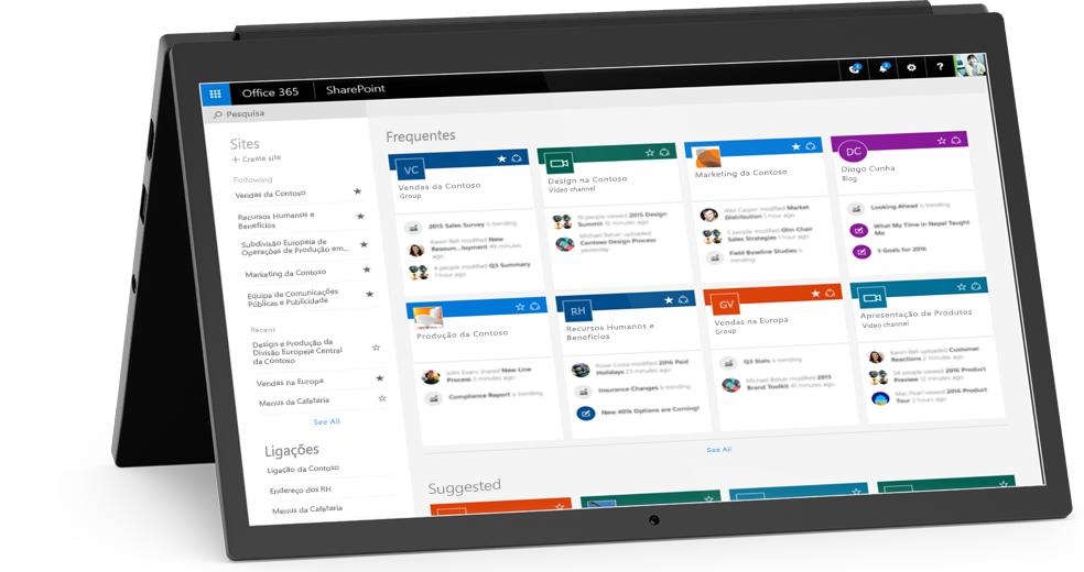 Um portátil a apresentar o ecrã Os Meus Sites do SharePoint