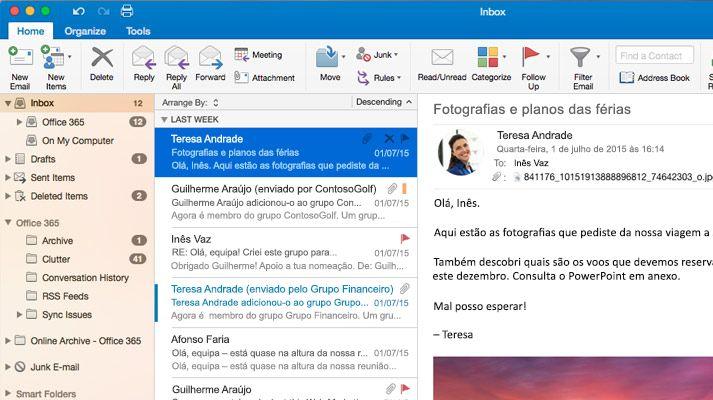 Uma captura de ecrã de uma caixa de entrada do Microsoft Outlook 2016 com uma lista e pré-visualização das mensagens.