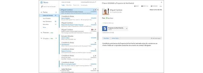 Uma caixa de entrada de e-mail de um dispositivo móvel com uma nova mensagem apresentada no painel de pré-visualização