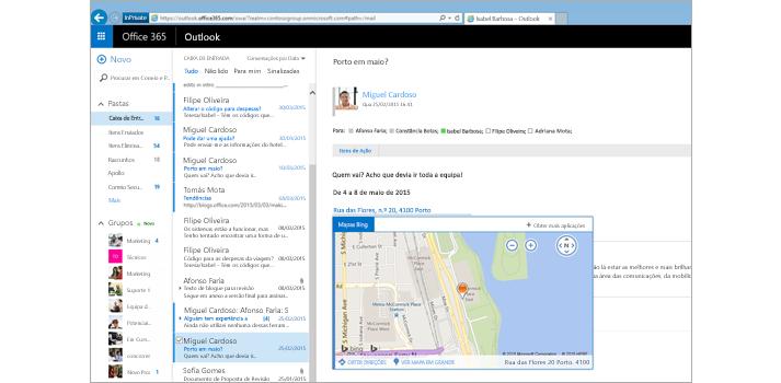 Grande plano da caixa de entrada de um utilizador no Outlook na Web, com tecnologia do Exchange.