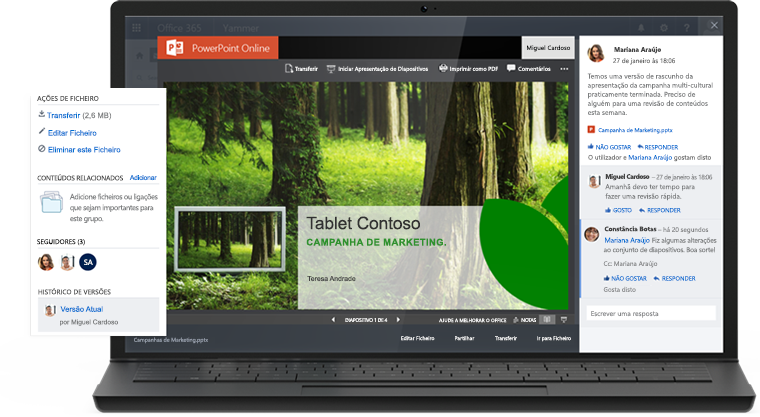 Imagem de um portátil a mostrar uma apresentação do PowerPoint Online com uma conversação do Yammer no mesmo ecrã