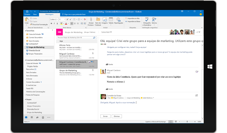 Ecrã de um tablet a apresentar uma conversação de grupo no Outlook