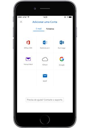 Um smartphone a apresentar o ecrã Adicionar uma Conta no Outlook para dispositivos móveis