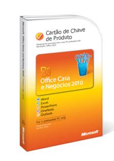 Cartão de Chave de Produto do Office 2010