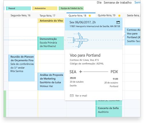 Um calendário do Exchange a mostrar detalhes de um voo e outros compromissos e eventos
