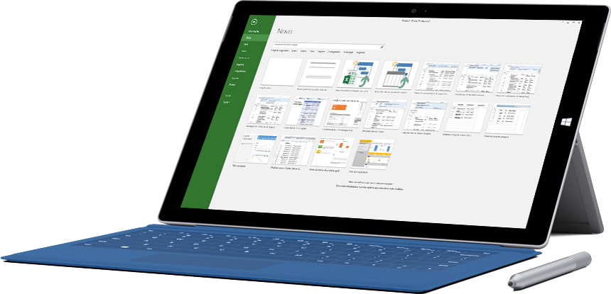 Um tablet Microsoft Surface a mostrar a janela Novo Projeto no Project 2016.