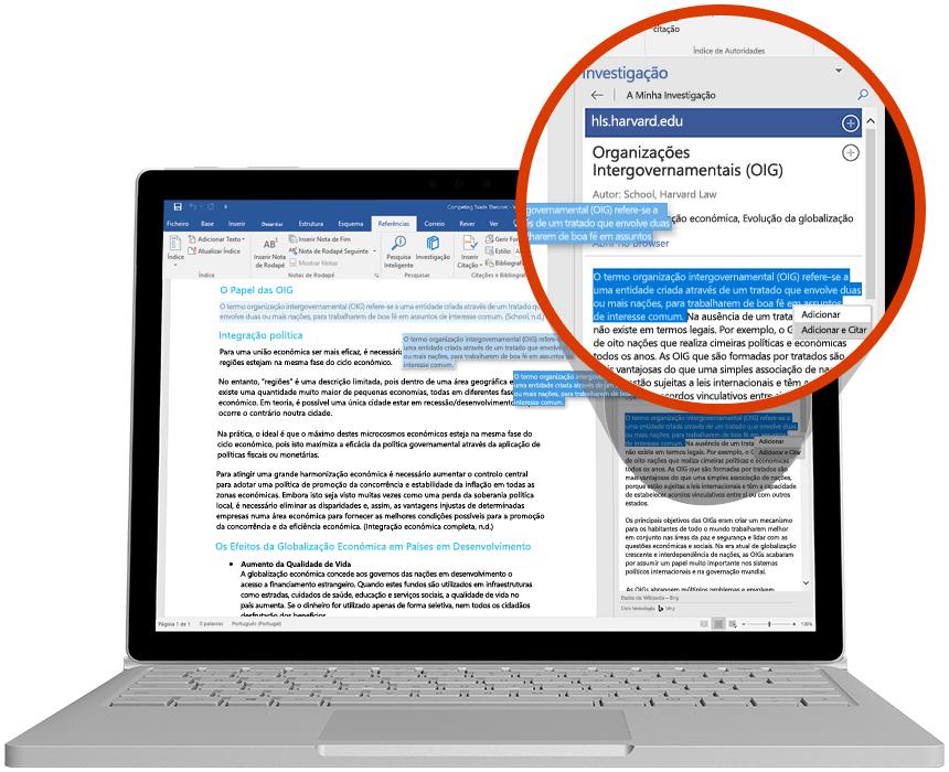 Portátil com a ferramenta de Investigação a ser utilizada num documento do Word