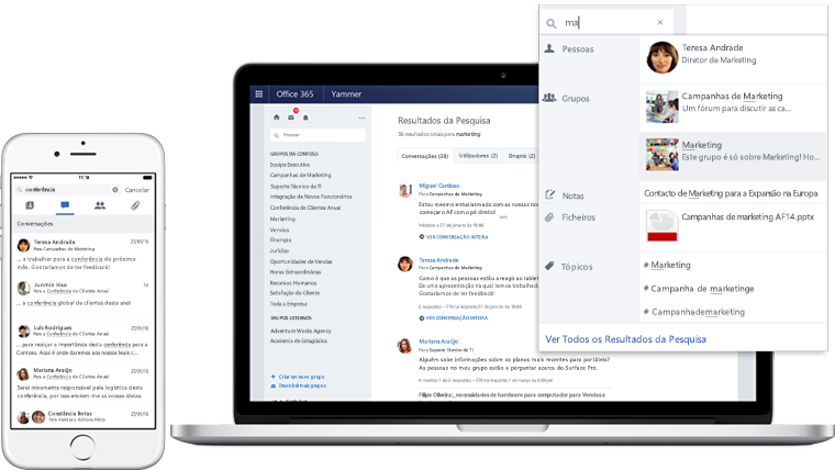 A laptop and a mobile phone displaying search results in Yammer