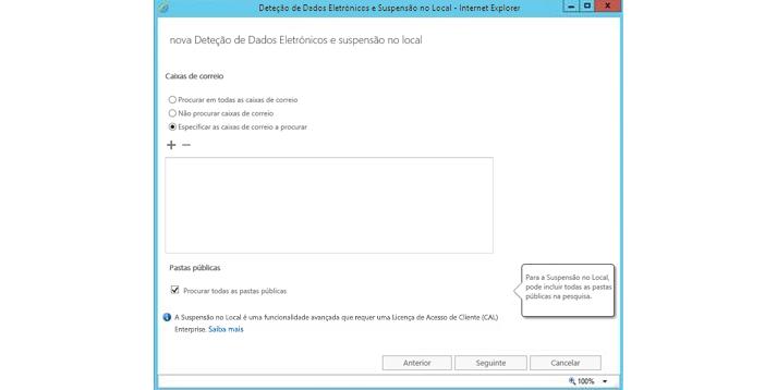 Uma janela do Internet Explorer a mostrar a funcionalidade de Deteção de Dados Eletrónicos e de suspensão no local