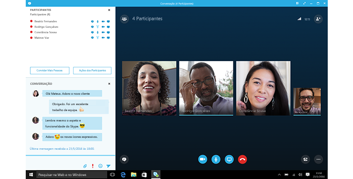 Uma captura de ecrã do ecrã principal do Skype para Empresas com miniaturas dos contactos e opções de ligação.