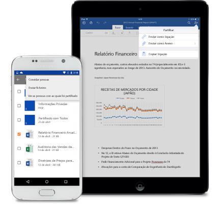 Um tablet e um smartphone a mostrar o menu de partilha no OneDrive para Empresas.