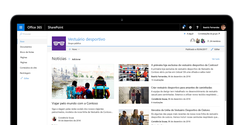 Um site de equipa do SharePoint num tablet PC