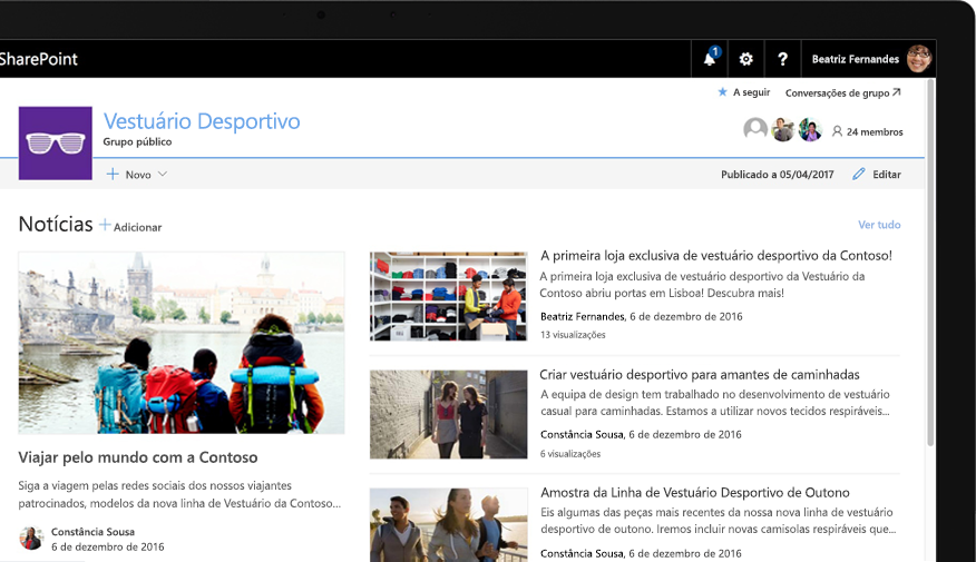 Um site de equipa do SharePoint num tablet