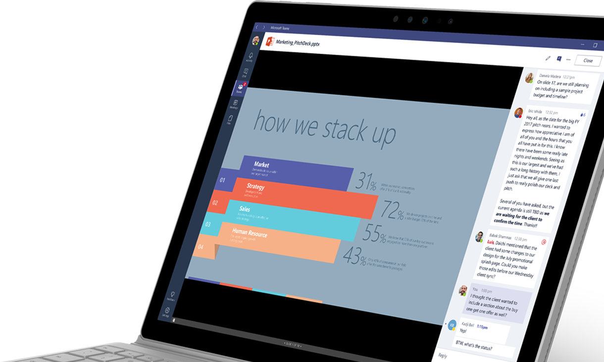 Um portátil a apresentar um gráfico e uma conversação no Microsoft Teams