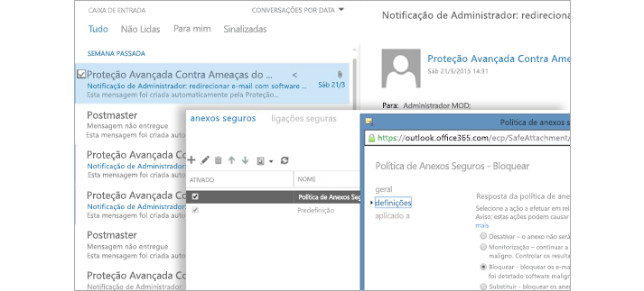 Um e-mail de notificação de um administrador e uma janela de Política de Anexos Seguros.