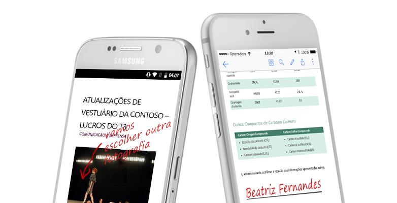 dois smartphones a mostrar documentos e notas manuscritas sobre os mesmos