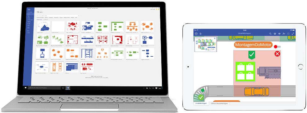 Diagramas do Visio Online (Plano 2) apresentados num portátil e num iPad.