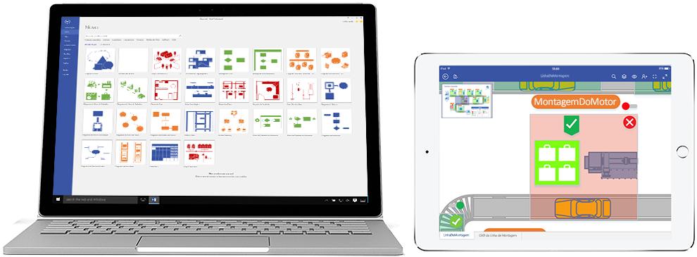 Diagramas do Visio Pro para Office 365 apresentados num Surface e num iPad.