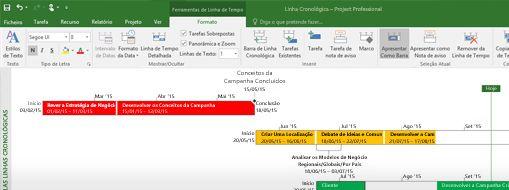 Captura de ecrã de um ficheiro de projeto aberto no Project Professional