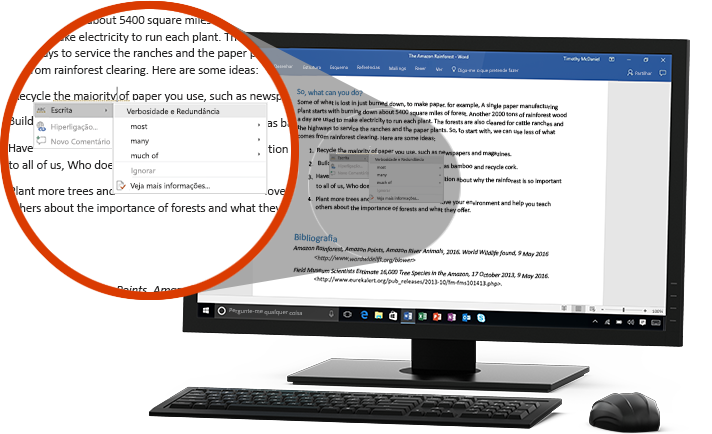 Um monitor de PC a mostrar um documento do Word com um grande plano da funcionalidade Editor a sugerir uma alteração de palavra numa frase