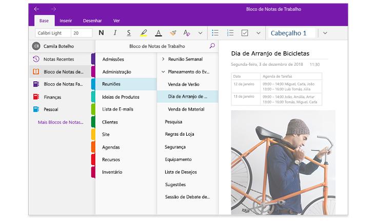Uma imagem dos painéis de navegação do OneNote, a mostrar uma lista de blocos de notas e a lista de secções e páginas num bloco de notas chamado Bloco de Notas de Trabalho.
